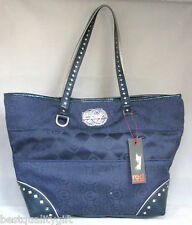 NEW RED MARC ECKO RED BLOCKS JACQUARD BLUE NAVY SILVER STUDDED LARGE TOTE,BAG