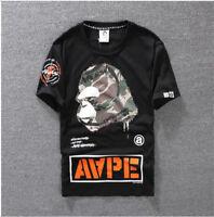 BAPE A Bathing Ape Monkey Head T-Shirt Men's Casual Summer Short Sleeve Tee Tops