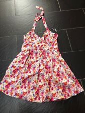 Red Herring Special Edition Bright Pink 50's Floral Halter-neck Prom Dress 16 BN