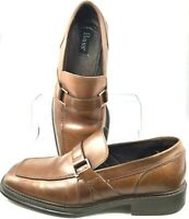 Bass Derry Loafer Men's 9.5 M Brown Leather Slip On Apron Toe Dress Shoes Brazil