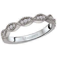 Set Ribbon Design Wedding Band Ring New Ladies 14k White Gold Diamond Prong