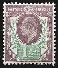 Great Britain Stamp 1902-11 1 1/2d King Edward VII Scott # 129 MINT OG H