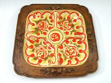 Vintage 70's Treasure Craft Drip Glazed Pottery Chip & Dip Tray Volcano Pattern
