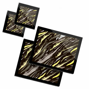 2 Glass placemates & 2 Glass coaster  - Yellow Abstract Stripes  #2123