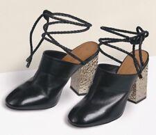 New🌹Next Signature🌹Size 8 (42 EU) Black Leather Lace Mules, Silver Block Heel