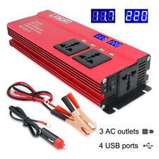 5000W Caravan Converter Power Inverter DC 12V to AC 230V 240V 4 USB 2LED 3 AC UK