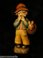 Anri Italian woodcarving Figurine statue of boy Musical basket by Juan Ferrandiz