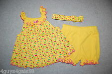 Toddler Girls DRESS BLOOMERS HEADBAND 3 Pc Set BRIGHT YELLOW PINK Cherry 18 MO