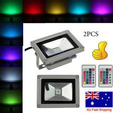 2PCS 10W RGB LED Flood Light Spotlight Changing Home Garden Hotel 16 Color AU