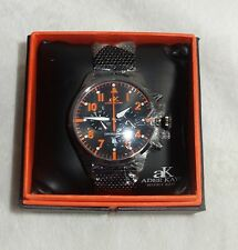 ADEE KAYE MENS CHRONOGRAPH MESH WATCH BLACK /black/orange AK7234-M NEW