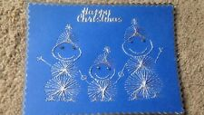 Hand stitched Happy Christmas Snowman Family theme card topper x 1 blue