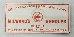 VINTAGE MILWARD'S NEEDLES (ART-15) Needles Sharps Advertising Package - England