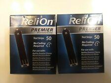 100 Ct. ( 2boxes @ 50 each)ReliOn Premier Blood Glucose Test Strips Exp 05/22 +