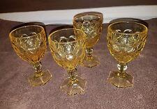 "Set of 4 Fostoria ""Moonstone Yellow"" Glasses Small Goblet Wine Juice Drinking"