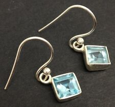 Sky Blue topaz square drop earrings solid Sterling Silver, new. UK Seller 6mm.
