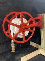 Antique 1900 Cliff & Guibert NYC Reel w/ Niagara Fire Hose Wooster Brass Nozzle
