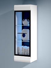 WHITE GLOSS Wall Display Tall Cabinet Glass Door LED Light Black Accents  Fever