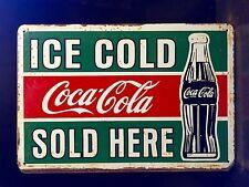 COCA COLA Sold Here Small METAL SIGN vtg Retro Ice Cold Art Wall Decor 20x30 cm
