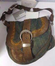 🦄 Genuine Christian Dior Gaucho Saddle Bag Designer Handbag Leather Denim 00s
