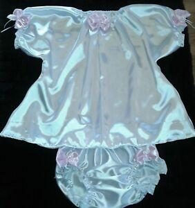 "ADULT SISSY BABY PINK & WHITE SATIN RUFFLED DRESS & PANTIES CHEST 48"""
