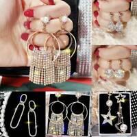 Luxury Geometric Women Crystal Hoop Drop Dangle Earrings Wedding Jewelry Gifts