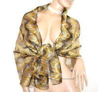 ÉTOLE NOIR OR jaune femme maxi foulard 20% soie châle écharpe légère voilée G60