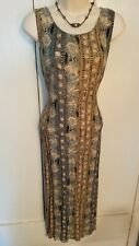 Vintage Forever Caroline Sleeveless Boho Summer Dress blue floral~ Womens 12