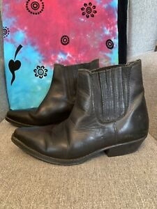 Mens Black Leather Cowboy Ankle Boots Size 8 42