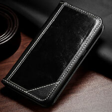 For Samsung Galaxy S7 Genuine Real Leather Flip Wallet Case Cover BLACK Pouch