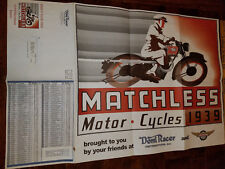 VINTAGE 1939  MATCHLESS BRITISH MOTORCYCLE DOMI RACER PRICE POSTER 34 X 22 NEW