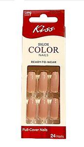 Kiss SALON COLOR Long Length Full Cover Nude Shade Nails DGK02 Debutante