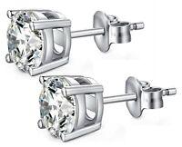 Round Ear Stud Earrings Men Women Crystal Cubic Zirconia (CZ) UK 6mm 8mm 10mm