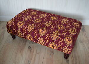 Large Footstool Upholstered in a Wine Kilm Fabric With Mahogany Hard Wood Legs