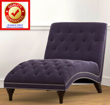 Chaise Lounger Velvet Purple Chaise Lounge Chair Sofa with Oversized Surface