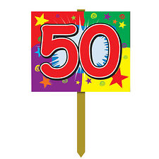 """Birthday Party-""""50"""" Yard Sign-12"""" x 15""""-New-Combine for Free Shipping"""
