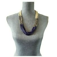Vintage Multi-Strand Statement Necklace Blue Silver Cream Beads