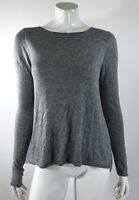 Chelsea Theodore Womens Sweater Size Medium Gray Sheer Pleated Back Long Sleeve