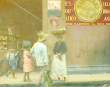 MANAGUA NICARAGUA STREET SIGNS   LOCALS HAND TINTED ANTIQUE PHOTO ON GLASS