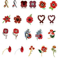 2019 New Design Poppies Red Poppy Brooches Women Enamel Rhinestones Brooch Pin