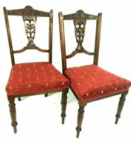 Pair of Antique Victorian Carved Mahogany Chairs [5486]