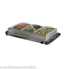 Elgento E322N Three Tray Buffet Server and Hotplate Silver