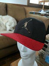 Air Jordan Youth Red Black Metal Logo Jumpman Adjustable Snapback Cap Hat