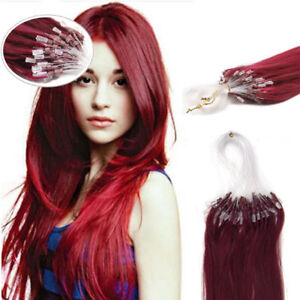18Inch 100% Remy Loop Micro Ring Silicone Beads Human Hair Extensions 100S #BUG