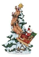 Santa's Sleigh Reindeer Ride To Sky Figurine Holiday Multi Z0902RM