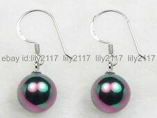 shell pearl 925 silver hook earrings Aa Charming! 10mm black South sea
