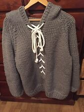 GOGO SWEATERS LACE UP KNIT HOODIE SWEATER IN CHARCOAL NWT HAND MADE