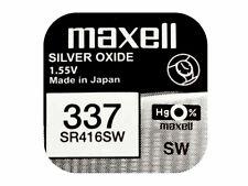 Maxell 337 PILA Batteria Orologio Mercury Silver oxide Sr416sw Japan 1.55v