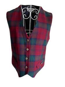 Edinburgh Women's Wool Waistcoat Size 12 Dark Red Green Mix Tartan With Buttons