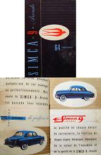 Simca 9 Aronde circa 1951/52 Original French Language Sales Brochure