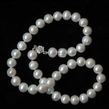 REAL D'ACQUA DOLCE 11mm Bianco Collana Di Perle/argento Sterling Fibbia
